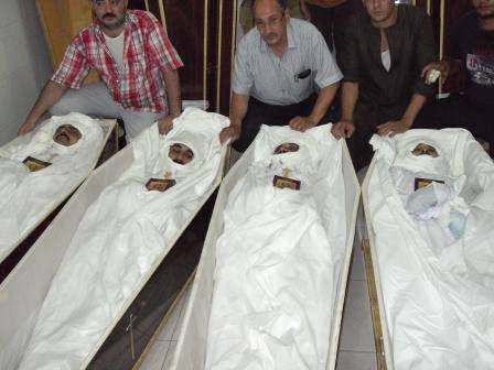 Corpses of the four slain Copts.