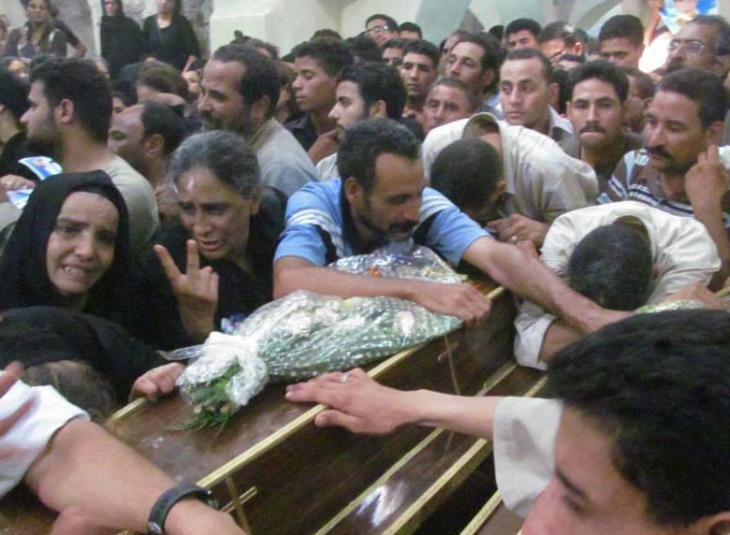 Mourners at funeral for Copts