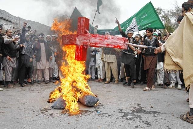 AFGHANISTAN-burn-cross