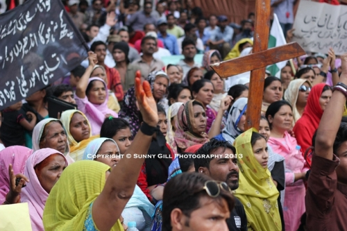 Protest of the Christian persecution experienced by the Joseph Colony where an entire village was set on fire by a large Muslim mob. -Photo by Sunny Gill