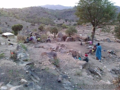 Displaced Christians in the hills looking for a place to sleep