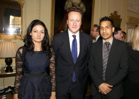 L-R Juliet Chowdhry, David Cameron and Wilson Chowdhry Photo credit: Wilson Chowdhry