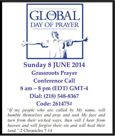 12 hour Prayer Call on Sunday, June 6, 2014