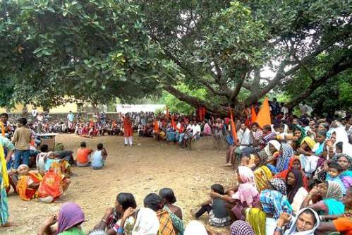 No Entry For 'Non-Hindu Missionaries' A village council meeting Photo: DEV SHARAN TIWARI