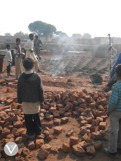 Child laborers at Pakistani Brick Kiln Chak 59 near Kot Radha Kishan