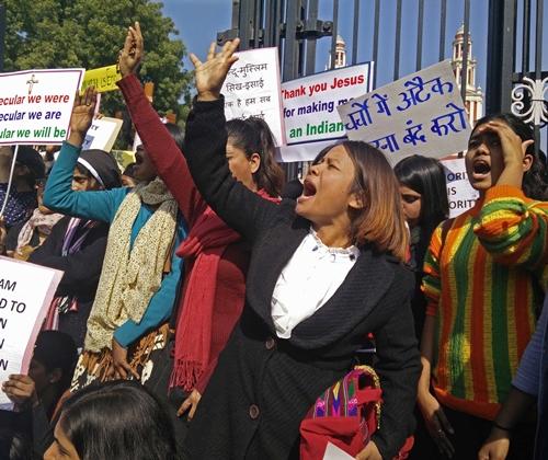 Demonstrators-protest-anti-Christian-attacks-on-Feb.-5-in-New-Delhi.-Morning-Star-News