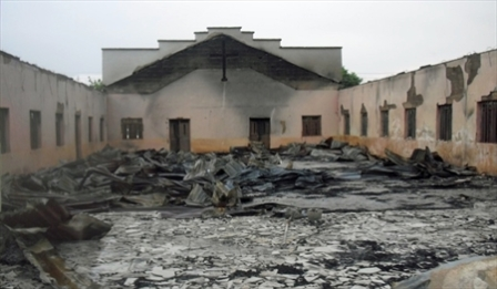 Charred remains of a Church building, following the 2011 post-election violence. May 2011 World Watch Monitor