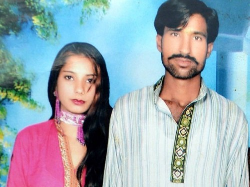 Shama Bibi (left) and Sajjad Maseeh, a Christian couple and parents of four children, were burned to death by a Muslim lynch mob in Pakistan because of a false blasphemy accusation.  Shama was also  pregnant.