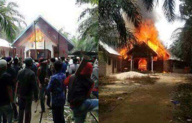 Burning of HKI church at Suka Makmur Aceh Singkil by Radical groups