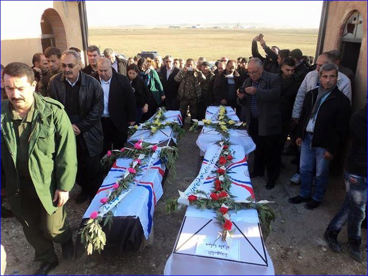 Funeral for the 4 Assyrians killed by the ISIS triple suicide bombing in Tel Tamar, Syria. (AINA)