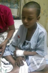 Child suffering from lack of medical treatment, hospitaiized. Photo: Voice of the Persecuted