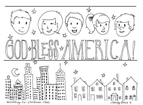 encourage your child to say god bless america - A Child God Coloring Page
