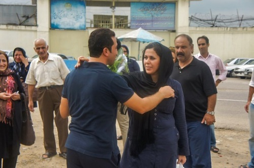 Youcef Nadarkhani, a church leader once sentenced to death for apostasy, is one of four converts currently facing charges for 'acting against national security'. Here, he greets his wife, Tina, after his release from prison in September 2012. The Nadarkhani family