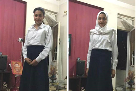 A girl shows 'unacceptable' (left) vs. 'acceptable' school dress code. Watani