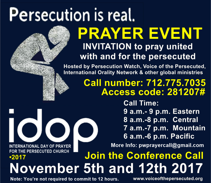 International Day Of Prayer For The Persecuted IDOP 2017 Conference Call Events